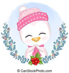 Baby penguin with wreath Christmas illustration.
