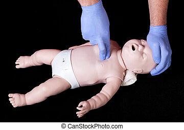 Baby phantom practice - A student practising resuscitation...