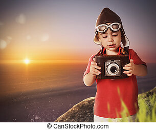 Baby photographer with a vintage camera - Baby photographing...