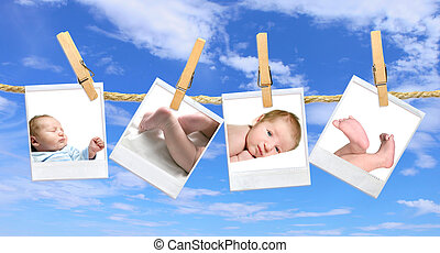 Baby Photos Hanging Against a Blue Cloudy Sky - Multiple...