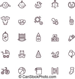 baby, pictogram, set