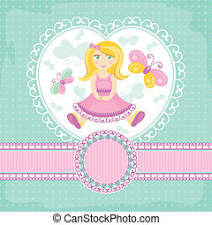 baby pige, vektor, card