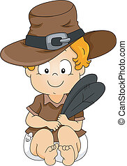 Baby Pilgrim - Illustration of a Baby Dressed as a Pilgrim