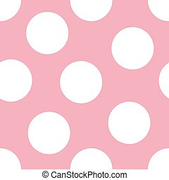 Baby Pink Background - Illustration of large white polka...