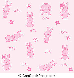 Baby pink background. Funny rabbits