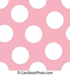 Baby Pink Background - Illustration of large white polka ...