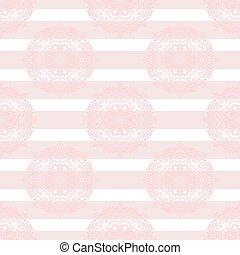 Baby pink mandala subtle striped seamless pattern.