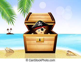 baby pirate in treasure chest