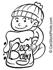 baby, plakat, bier, design
