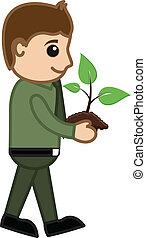 baby, plant, spotprent, vasthouden, man
