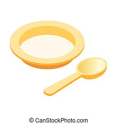 Baby plate spoon isometric 3d icon