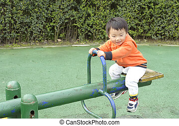 baby play seesaw