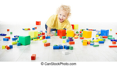 Baby Play Toy Blocks, Crawling Child Playing on Floor with Building Bricks Toys, Happy Kid Isolated over White Background