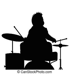 baby playing drum silhouette illustration