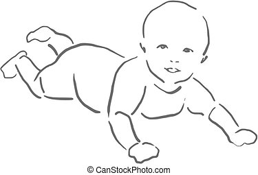 Baby playing on the floor sketch