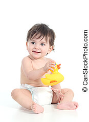 Baby playing with a rubber ducky