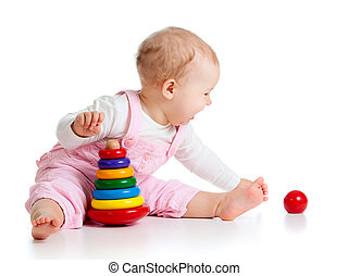 baby playing with color toy - child playing with color...