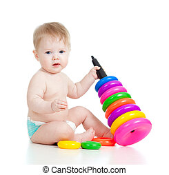 baby playing with color toy - child playing with color toy