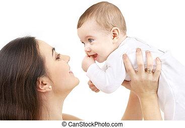 baby pojke, lycklig, #2, mor