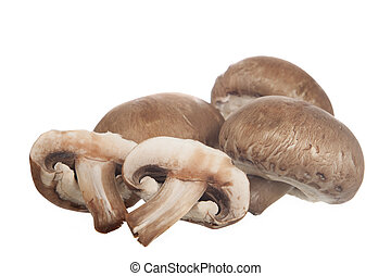 Baby Portobello Mushrooms on white background