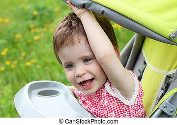 baby portrait in stroller