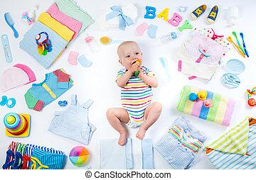 baby, posten, säugling kleiden, sorgfalt