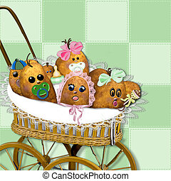 Baby carriage filled with real raw potato spud babies...graphic/illustration/backround/poto