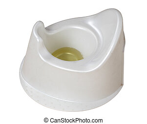 Baby potty with urine isolated over white background
