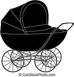Baby pram, black silhouette