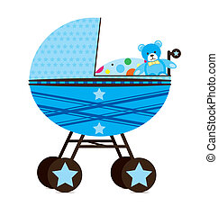 Baby Pram Blue - Illustration of baby pram. Blue for boy.