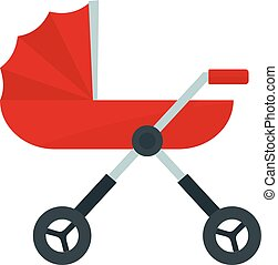 Baby pram carriage icon, flat style