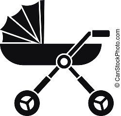 Baby pram carriage icon, simple style