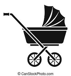 Baby pram icon, simple style