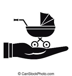 Baby pram protection icon, simple style