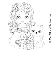 baby princess and cat with gift Coloring book