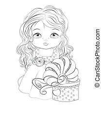 baby princess with gift Coloring book