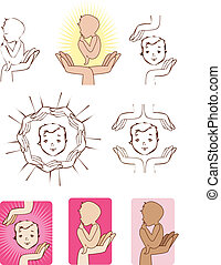 Baby protected by hands icons