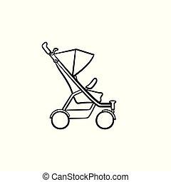Baby pushchair hand drawn sketch icon.