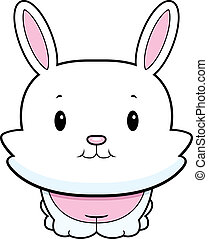 A happy cartoon baby rabbit standing and smiling.