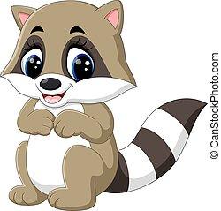 baby raccoon cartoon - illustration of baby raccoon cartoon