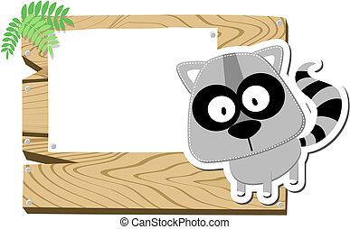 baby raccoon signboard