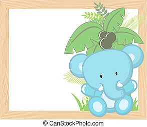 baby, rahmen, elefant