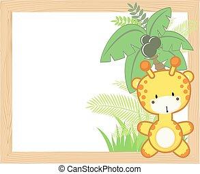 baby, rahmen, giraffe
