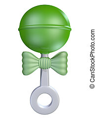 Baby Rattle - A generic white plastic baby rattle with green...