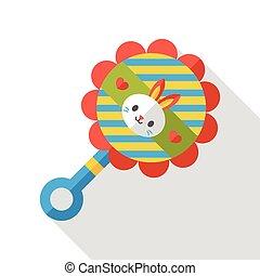 Baby rattle flat icon