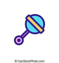 Baby rattle icon vector. Isolated contour symbol illustration