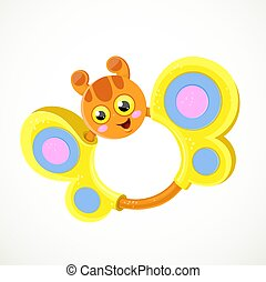 Baby rattle in the form of cartoon butterfly with yellow wings isolated on white background