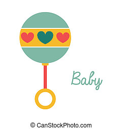 baby rattle over white background vector illustration