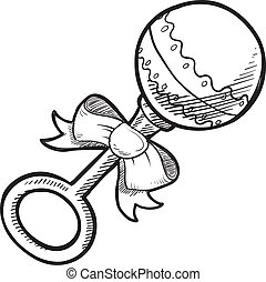 Baby rattle sketch - Doodle style baby rattle illustration...