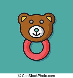 Baby rattle vector icon